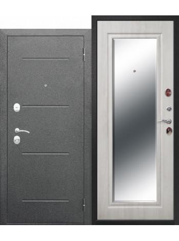 Дверь 7,5 Гарда Серебро Зеркало Фацет Белый Ясень