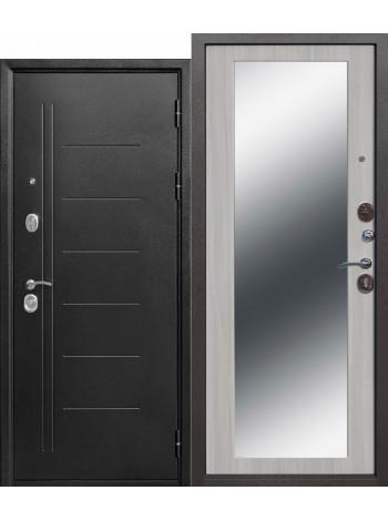 Дверь 10 Троя Серебро Макси Зеркало Белый Ясень